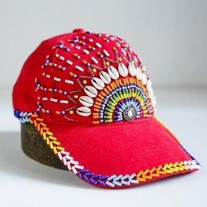 Bright Red Multicolour Beaded Embroidered Boho Hat
